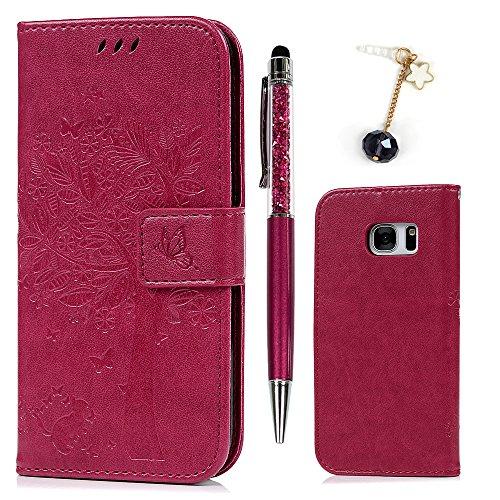 Funda para Samsung Galaxy S7, Funda Libro de Cuero Impresión de Suave PU Premium e Silicone TPU Carcasa, Correa de mano, Soporte Plegable, Tarjetas y Billetera, Cierre Magnético Árbol Rosa Roja