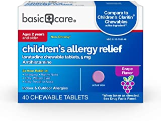 Amazon Basic Care Children's Allergy Relief, Loratadine Chewable Tablets, 5 mg, Grape Flavored, 40 Count