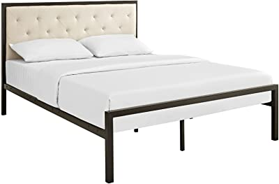 """Modway Mia Fabric Platform Bed Frame, Queen, Brown Beige with Modway Aveline 6"""" Gel Infused Memory Foam Queen Mattress With CertiPUR-US Certified Foam"""