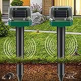 2 Piezas Ahuyentador de Topos Solar, Repelente de Ratones Solar Ultrasónico, IP65 Repelente Ultrasónico para Animales, Repelente de Topo para Jardines,Céspedes,Roedores,Serpientes, Hormigas,Topillos