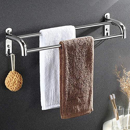 Toallero Baño, Toallero Pared Acero Inoxidable Multifunción 304 Almacenamiento de toallas de acero inoxidable, riel de toallas de baño montado en la pared, barra de toalla doble, para baño-A-80cm