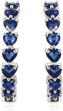 Inside Out Hoops Hoop Earrings for Women Silvertone Heart Blue Glass Gift Jewelry Cttw 10.8