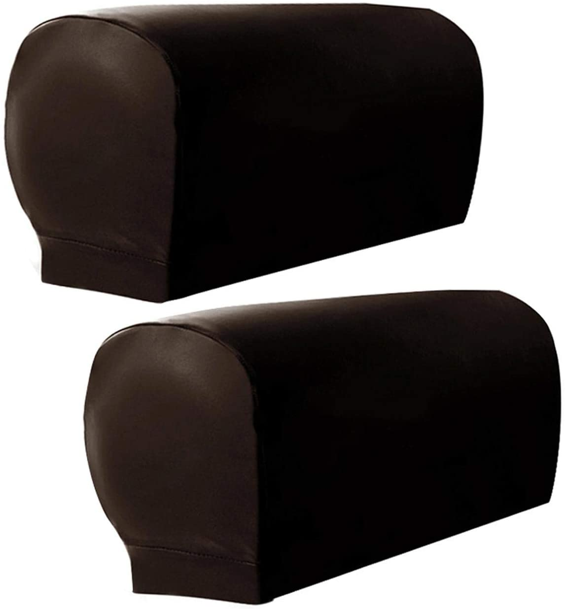 CALIDAKA Elastic PU Leather Sofa Covers 2pc/Set Waterproof Sofa Armrest Covers Anti-Slip Furniture Protector Washable Armchair Slipcovers for Couch Chair Arm(Brown- No Button)
