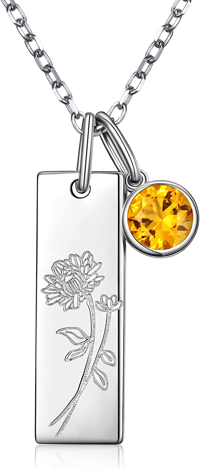 925 Sterling Minneapolis Mall Silver Cubic Zirconia Necklace Birth Flower Month Memphis Mall f