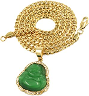 Stainless Steel Gold Iced Smiling Chubby Buddha (Green Jade) Pendant w/Cuban Chain
