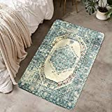 LIVEBOX Vintage Area Rug, 2x3ft Turquoise and Beige Bohemian Distressed Area Rugs Traditional Persian Oriental Design Throw Rug Floor Mat for Entryway Living Room Bedroom Carpet