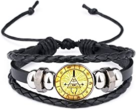 calhepco Gravity Falls Mysteries BILL CIPHER WHEEL Black Bracelet Glass Cabochon Round Toy Pendant