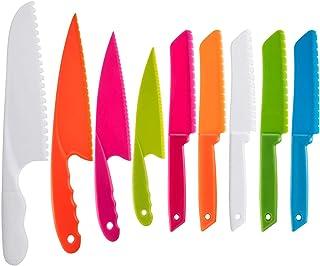QincLing - Juego de cuchillos de cocina de plástico para niños, cuchillo de chef de nailon seguro para hornear, fruta, pan, pasteles, cuchillo de lechuga, cuchillo de ensalada
