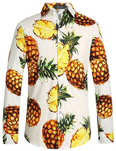SSLR Herren Hawaii Hemd Langarm Ananas Druck Baumwolle Button Down Freizeithemd Aloha Shirt (X-Large, Weiß)