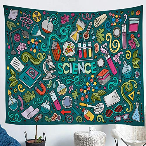 Erosebridal Laboratory Tapestries Chemistry Lab Wall Hangings for Kids Teen Boys Young Man Test Tube Microscope Graffiti Tapestry Hippie Doodle Science Theme Throw Blanket Beach Throws Blue Green