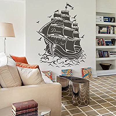Vinyl Pirate Ship Wall Sticker Sail Boat Wall Decal Nautical Wall Graphic Wall Mural Vinyl Home Art Decor