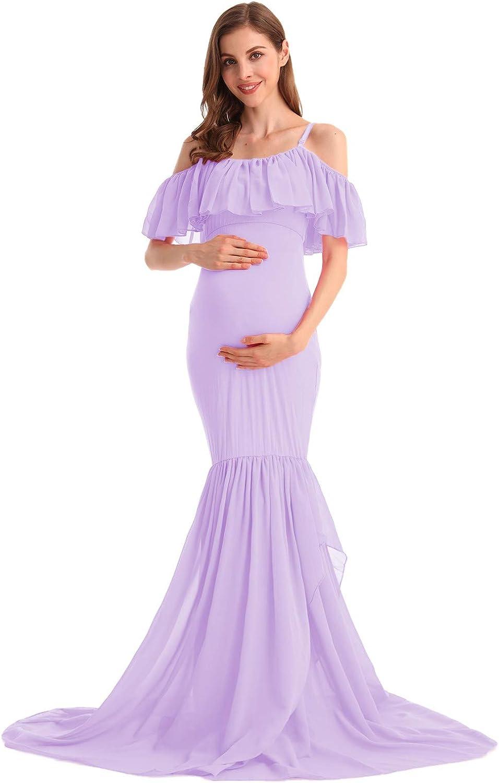 MYRISAM Women's Off Shoulder Ruffles Maternity Baby Shower Dress Mermaid Layerd Chiffon Wedding Party Slim Fitted Gown
