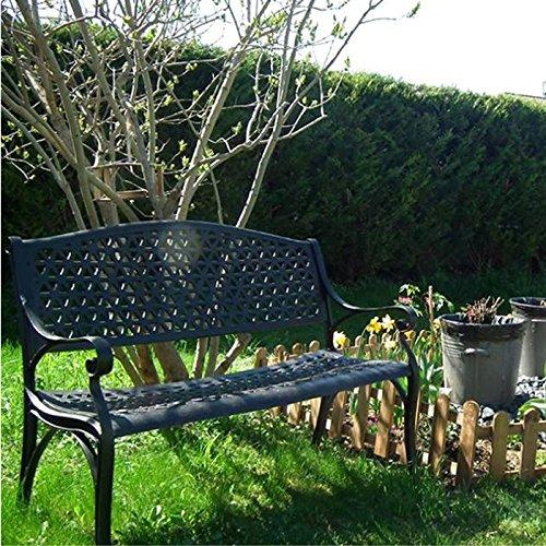 Lazy Susan – JULY Gartenbank und SANDRA Quadratischer Kaffeetisch – Gartenmöbel Set aus Metall, Antik Bronze (Beiges Kissen) - 3