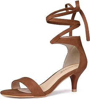 Allegra K Women's Kitten Heel Lace up Sandals