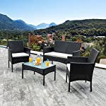 Walsunny 4 Pieces Outdoor Patio Furniture Sets Rattan Chair Wicker Set,Outdoor Indoor Use Backyard Porch Garden Poolside Balcony Furniture(Black) 13 CHARMING CONVERSATION SET – Great for small spaces or creating a cozy nook, this outdoor wicker furniture set comes with two chairs, a love-seat, and a tempered glass top table. GORGEOUS GLASS TABLE TOP – Each perfectly-sized drink table features a tempered glass top that's equally gorgeous and durable for long-lasting outdoor use. WEATHER-RESISTANT RESIN – Designed specifically for indoor or outdoor use, this wicker conversation set is strong enough to withstand the rain, sun, and wind.