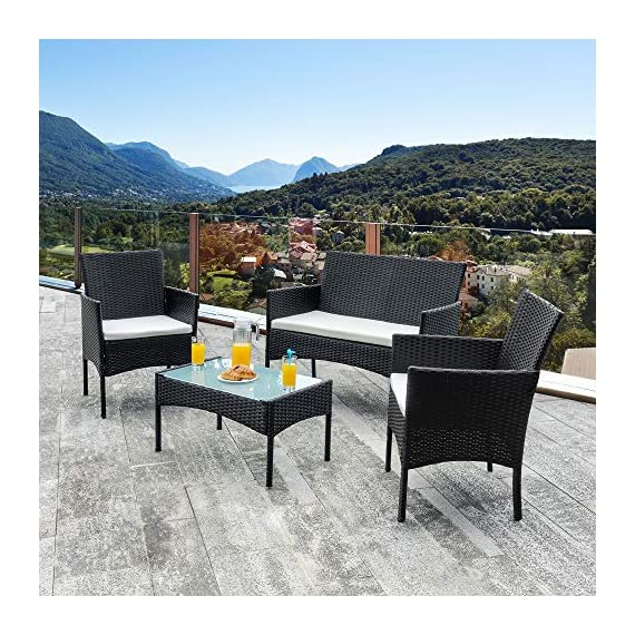 Walsunny 4 Pieces Outdoor Patio Furniture Sets Rattan Chair Wicker Set,Outdoor Indoor Use Backyard Porch Garden Poolside Balcony Furniture(Black) 6 CHARMING CONVERSATION SET – Great for small spaces or creating a cozy nook, this outdoor wicker furniture set comes with two chairs, a love-seat, and a tempered glass top table. GORGEOUS GLASS TABLE TOP – Each perfectly-sized drink table features a tempered glass top that's equally gorgeous and durable for long-lasting outdoor use. WEATHER-RESISTANT RESIN – Designed specifically for indoor or outdoor use, this wicker conversation set is strong enough to withstand the rain, sun, and wind.