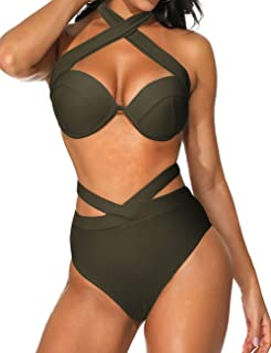 FeelinGirl Women's 2 Pieces Halter Bikini Swimsuits High Waist Bathing Suit High Cut