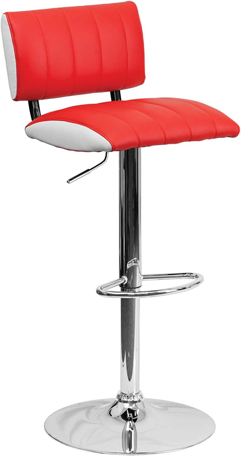 Flash Furniture Contemporary Two Tone Red and White Vinyl Adjustable Height Footrest Bar Stool with Chrome Base