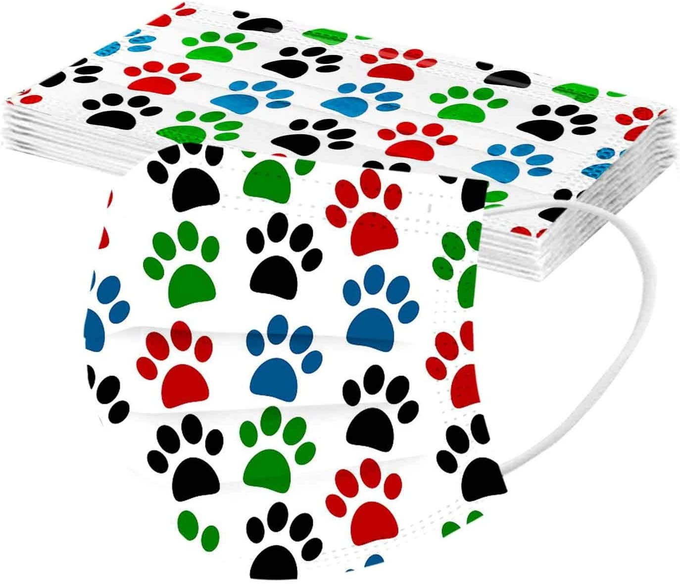 3 Layer Non-Woven Breathable Bandanas Anti-Dust Windproof Protection with Elastic Earloop 20201208 ZE785 Taurner 10PCS Adults Cat Dog Paw Printed Colorful Disposable