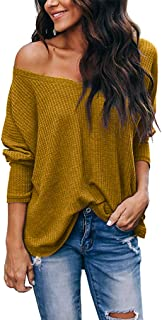 LuckyMore Women's Casual Off Shoulder V Neck Batwing Sleeve Pullover Sweater Tops