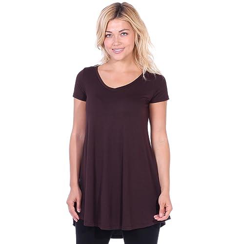 53aae488fa52 Popana Women s Tunic Tops for Leggings Short Sleeve Summer Shirt Made in USA