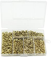 Small Wood Screws , Linwood 5mm 6mm 7mm 8mm 10mm Universal Self Drilling Flat Cross Head Screws Assortment (Gold Screws)