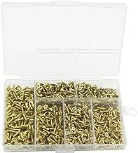 Small Wood Screws , Linwood 5mm 6mm 7mm 8mm 10mm Universal Self Drilling Flat Cross Head Screws Assortment (Gold Screws)