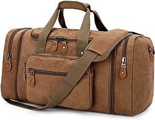 Plambag Canvas Duffle Bag for Travel, Duffel Overnight Weekend Bag(Coffee)
