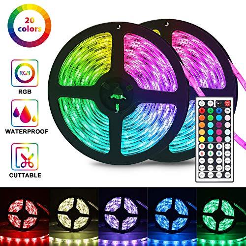 Tira Led 10m RGB, Tiras led lights con control Remoto IR de 44 Teclas, 300 LEDs SMD 5050 Luces Led Decorativas para Techo, Armario, Dormitorio, decoración de bar
