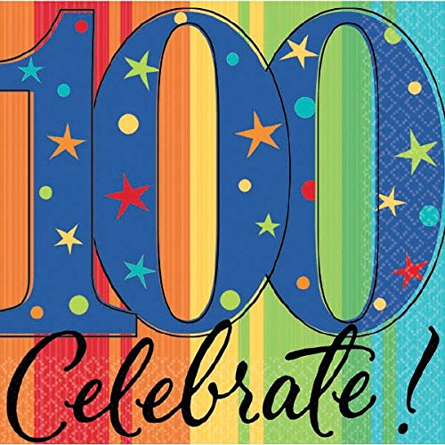 """A Year to Celebrate 100th Birthday Party Stars and Rainbow Beverage Napkins Tableware, Pack of 16, Multi , 5""""x5"""" Paper"""