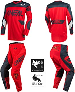 O`Neal Element Racewear Red Men motocross MX off-road dirt bike Jersey Pants combo riding gear set (Pants W36 / Jersey Large)