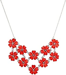 Lux Accessories Multi Color Floral Flower Mini Special Occasion Statement Necklace