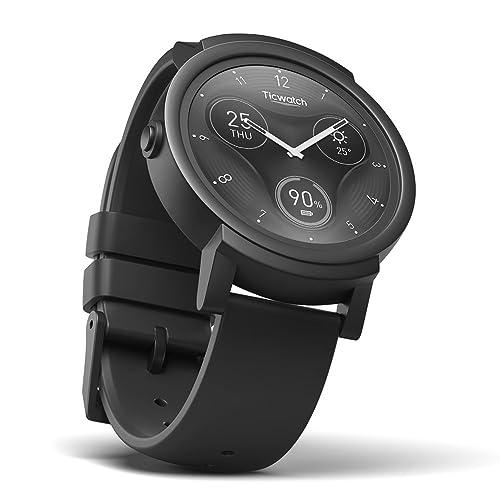 Ticwatch E Shadow Smartwatch Bluetooth Montre Connectée avec écran OLED 1,4 Pouces, Android Wear 2.0, Sportswatch Compatible avec Android et iOS, Langue française Disponible Disponible