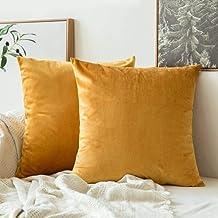 In House Gold Velvet Decorative Solid Filled Cushion, 30 * 30 centimeter