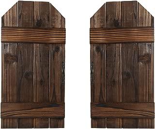 DOCMON Rustic Wall Decor-Home Decor -Farmhouse Decor-Vintage Decorative Shutter Set for Room Decor (Brown, 15.7X7.8X1)