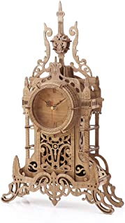 3D Wooden Puzzle Clock Model Kits for Adults- Tower Desk Clock