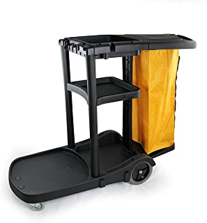 Farag Janitorial Commercial Housekeeping cart Janitorial cart with Cover and Vinyl Bag, L 52