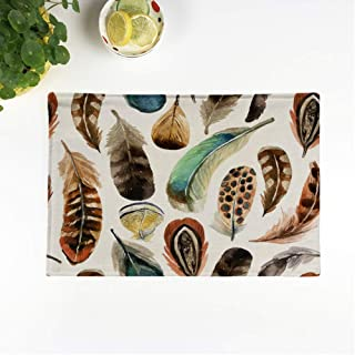rouihot Set of 6 Placemats Brown Watercolour Watercolor Colorful Feather Native Hippie Pheasant Animal Non-Slip Doily Place Mat for Dining Kitchen Table