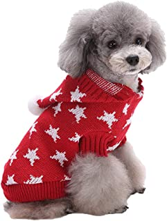 Dog Christmas Sweater Knitted Soft Fleece Sweatshirt Knitting Hoodie Keep Warm in Cold Winter Puppy Dress Up Apparel for C...
