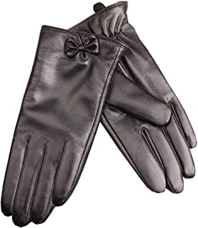 Womens Leather Gloves Soft Warm Velvety Lining Winter Gloves Ladies Touch Screen Mittens with One Bow Decoration (Black)