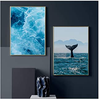 wsqyf Blue Sea Wave Whale Stone Fern Leaf Quote Wall Art Canvas Painting Nordic Posters and Prints Wall Pictures for Living Room Decor 60x80cmx2 (no Frame)