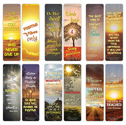 Creanoso Sun Light Stay Positive Quotes Bookmarks (30-Pack) – Awesome Bookmarks for Bookworm, Bibliophiles – Unique Book Reading Page Binders – Stocking Stuffers Gifts Rewards Token Ideas