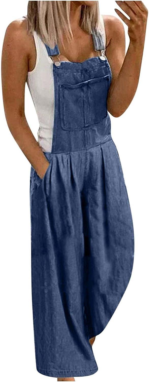 FUNEY Jumpsuits for Women Casual Stretch Adjustable Loose Baggy Denim Bib Harem Overall Romper Wide Leg Jeans Pants