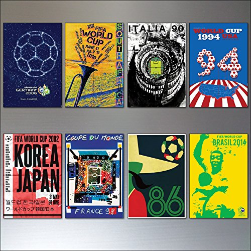 Football World Cup Posters from 1986-2014 vintage fridge magnets set of 8