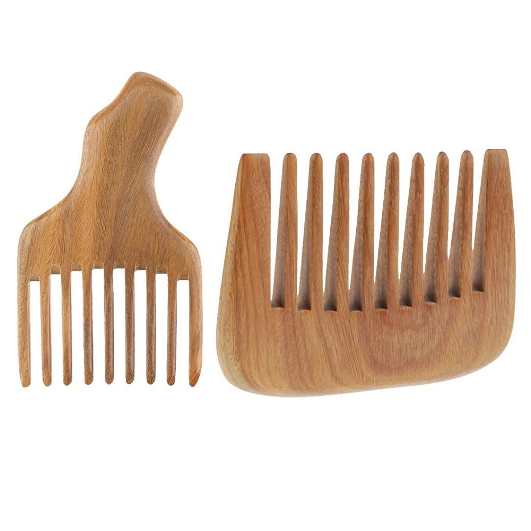 代数的ペルー世辞SM SunniMix ウッドコーム ワイド歯 ヘアブラシ 木製櫛 ナチュラル ウッド 2個入り