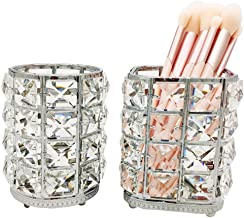 JIARI 2Pcs Set Makeup Brush Holder Organizer Square Round Crystal Cup Comb Brushes Pen Collection Cosmetic Storage (Silver...