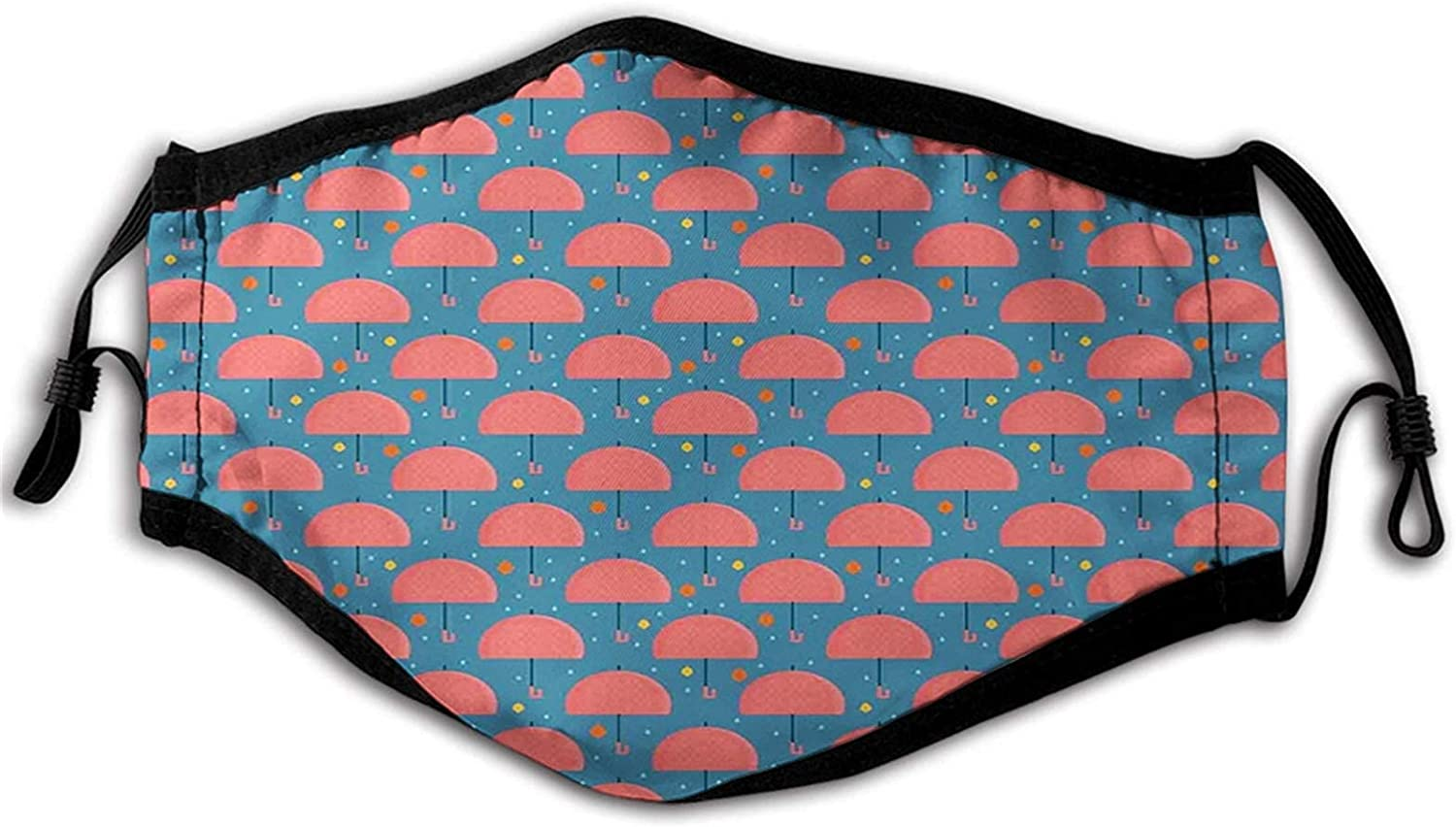 Umbrella, Autumn Foliage and Raindrops with Cartoon Style Parasol Pattern, Dark Coral Orange and Blue Mouth Face Mask Anti Breathable Absorb Sweat Masks for Adult