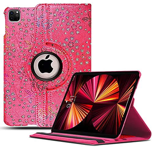 For iPad Pro 11 2021, iPad Pro 11 3rd Gen, 360 Rotating Leather Flip Case Cover Compatible with iPad Pro 11 (2021) - Rose On Pink Glitter
