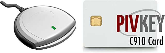 Identiv SCR3310V2 USB Smart Card Reader Bundle with PIVKey C910 Smart Card