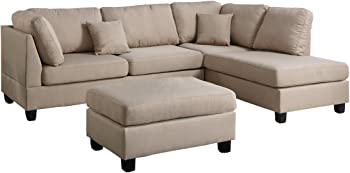 Poundex Bobkona Dervon Reversible Chaise Sectional with Ottoman